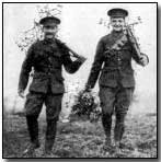 British soldiers bringing in Christmas holly