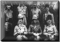 British surrender in Kut to Khalil Pasha, 1916: Front row: Colonel Parr, General Townshend, Khalil Pasha.  Back row: Naum Bay, Captain W E T Morland, Naum Hava, Faud Bey.