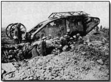 British Mark I tank, such as those used at Flers-Courcelette