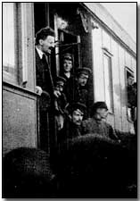 Leon Trotsky arriving in Petrograd by train