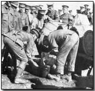 British soldiers at Salonika receiving daily beer ration