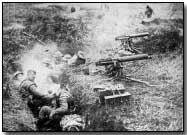 British machine gunners in captured German second line trench at Cambrai