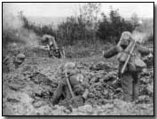 German trench mortar in action