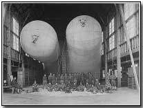 Three 5,000 cubic feet Nurse Balloons in Hangar. Fort Sill, Oklahoma, May 1, 1918