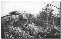 British tank breaking through barbed-wire