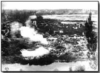 Battery C, US 108th Field Artillery, 28th Division firing from the ruins of Varennes
