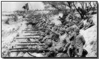 Italian troops entrenched along the Isonzo