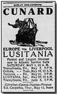 Advertisement for the Lusitania's fateful voyage