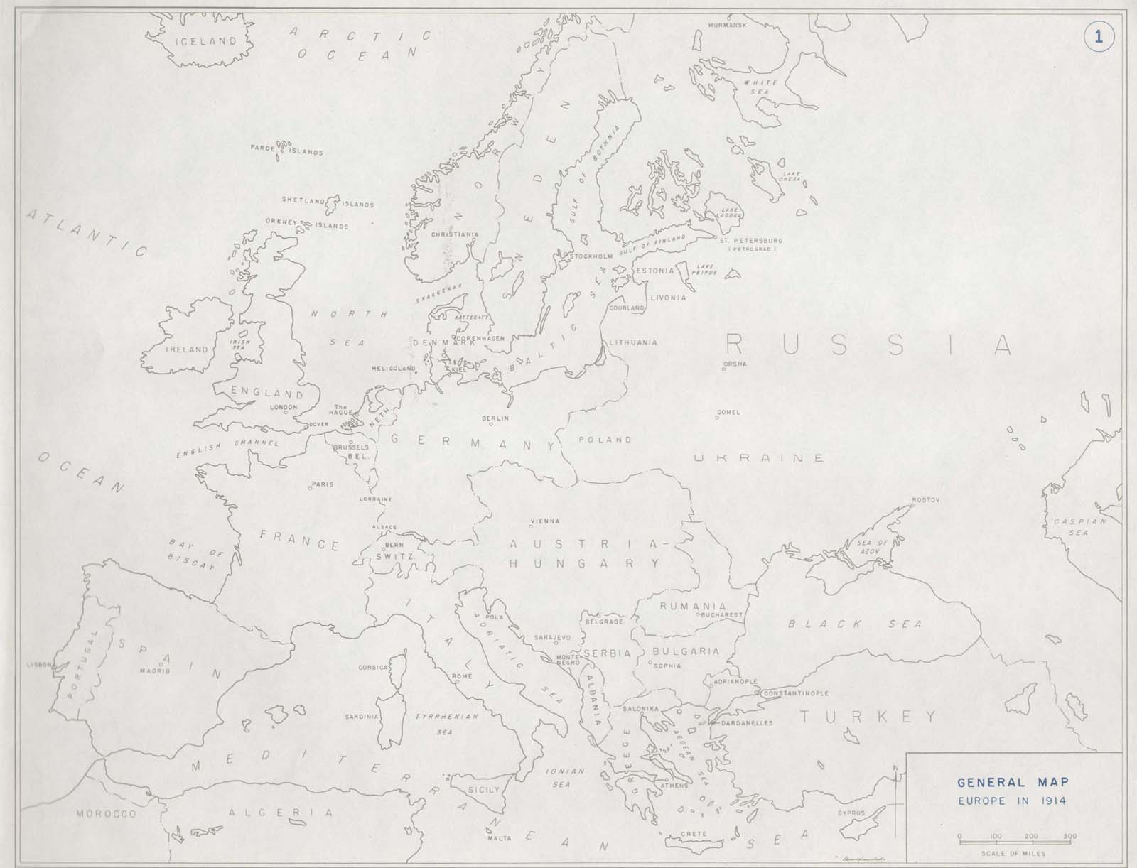 A Map Of Europe In 1914.First World War Com Battlefield Maps Europe In 1914