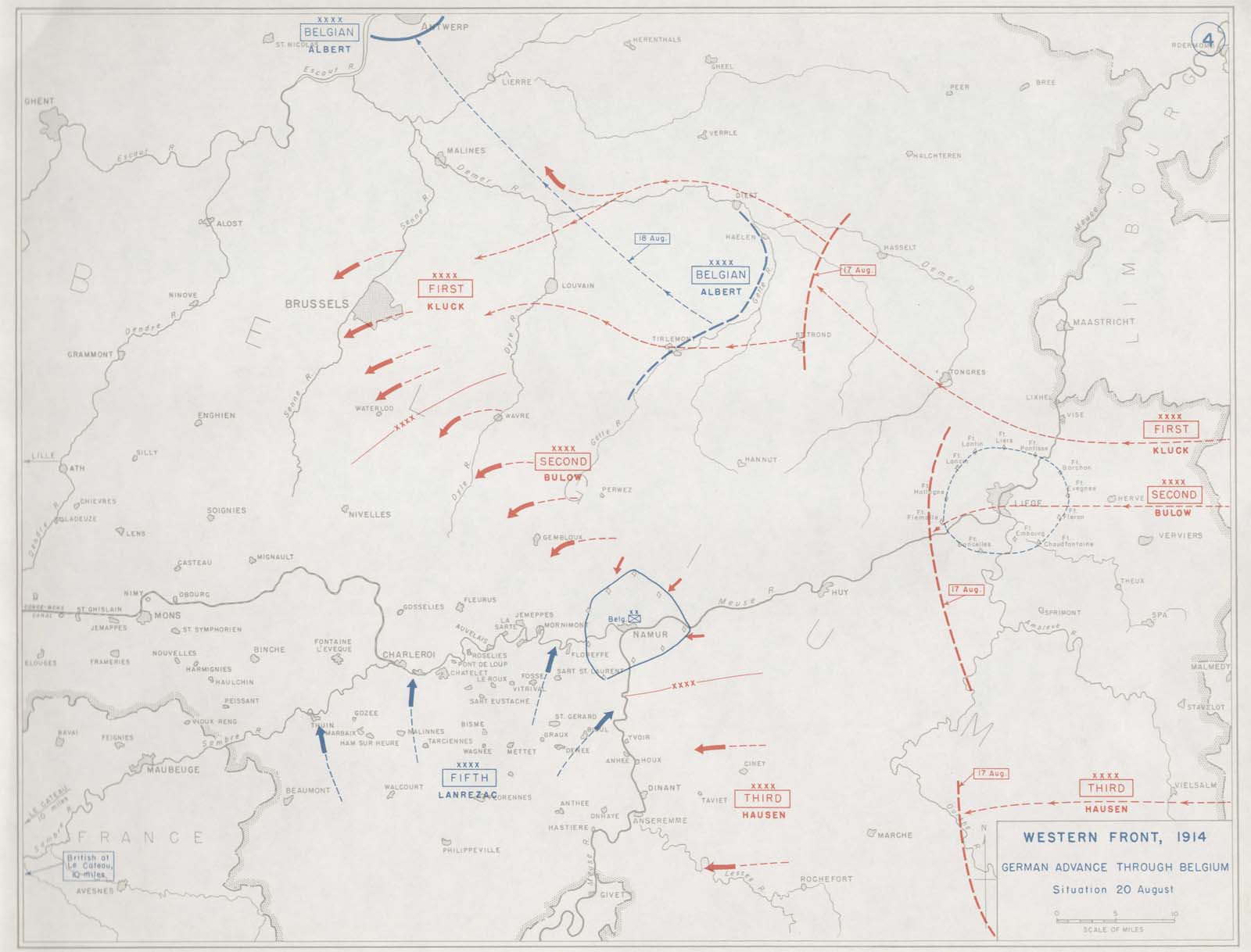 click here to view a map charting the progress of the german invasion of belgium in august 1914