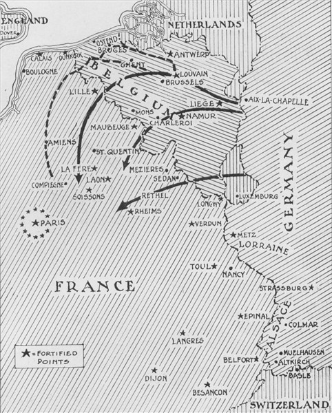 Map of german advance to 6 september 1914 nw map of the western