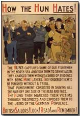 "British propaganda poster: ""How The Hun Hates!"""