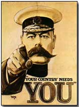 "British wartime recruitment poster: ""Your Country Wants You"""