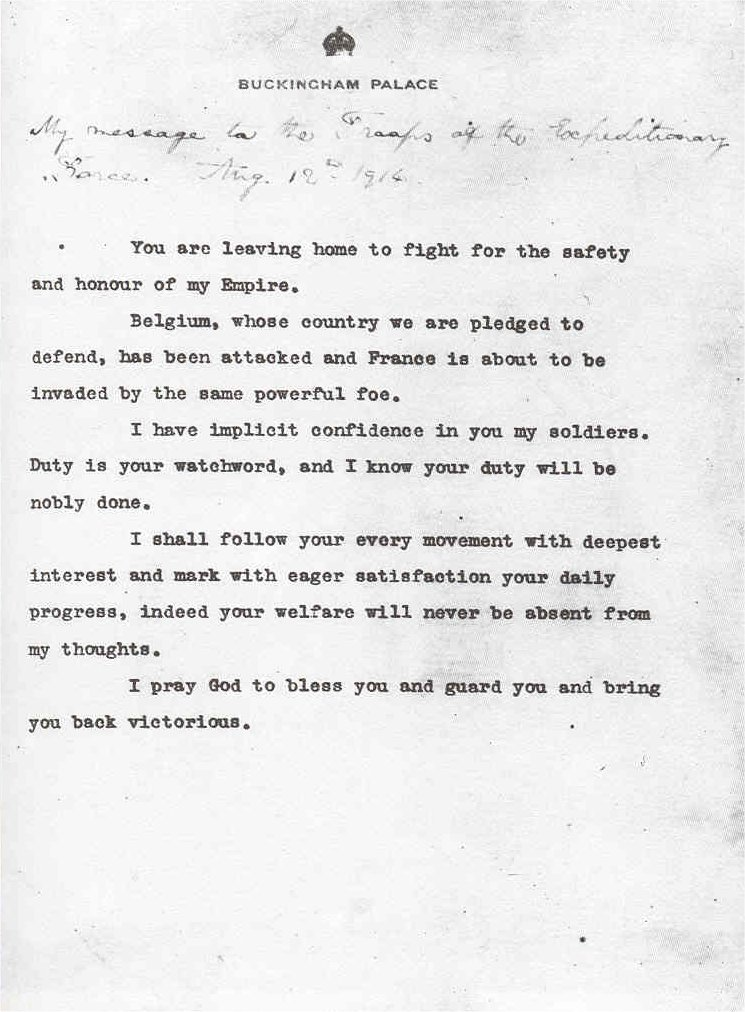 First World War.com - Primary Documents - King George V's Message ...