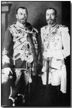 Demposed Tsar Nicholas II (right) with Britain's King George V