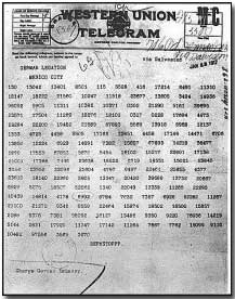 Photograph of the coded Zimmermann telegram