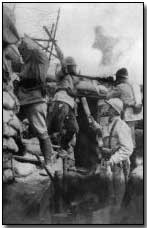 French troops engaged with hand grenades and rifles in front-line trench