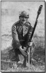 Serbian soldier with rifle grenade